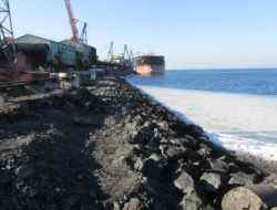 Объект Очередное комплексное обследование берегоукрепления угольного пирса, расположенное по адресу: Приморский край, г. Находка, п. Врангель, ул. Базовая 11